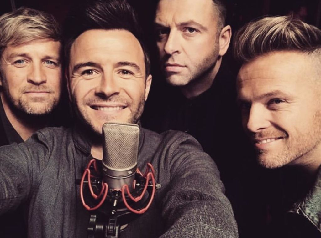 Westlife in the studio recording Better Man, March 2019