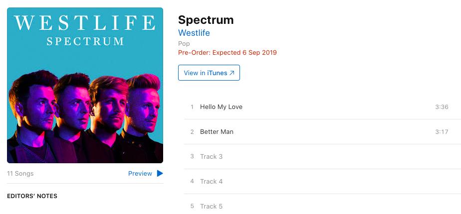 New Westlife Album 'Spectrum' - Tracklist & Songs