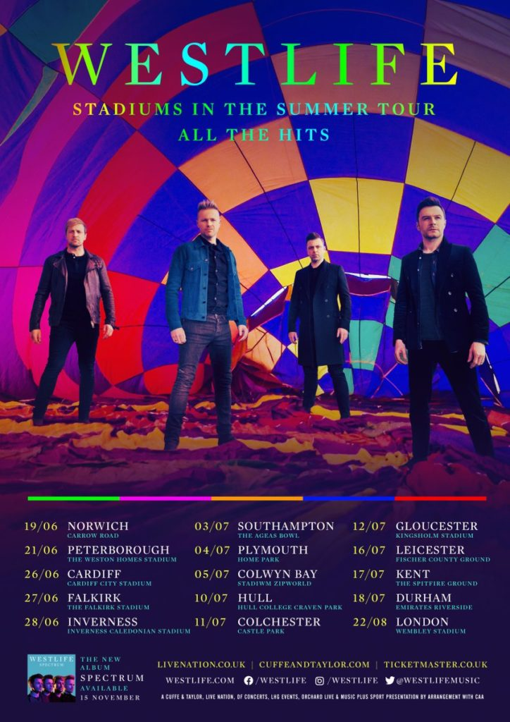 Westlife Stadiums in the Summer Tour 2020